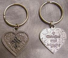 Pewter Key Ring Western Grace Heart Black Cross NEW