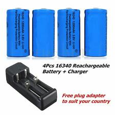 4PCS 16340 CR123A Rechargeable Batteries 1200Mah 3.6V Li-ion With Smart Charger