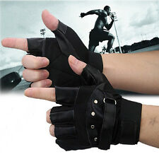 Men Soft Sheep fashion Leather Driving Motorcycle Biker Fingerless Warm Gloves