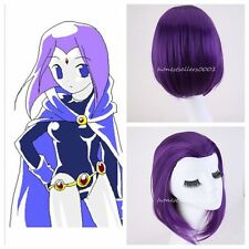 New Woemn Gilr New Raven From Teen Titans Anime Cospaly PURPLE Hair Wigs+Wig Cap