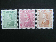 "PRICE REDUCED: 1937 Iceland MH stamps, # 199-201,""King Christian X"";  Cat. $7.50"