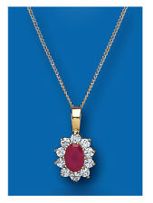 """Yellow Gold Real Ruby Cluster Pendant With 18"""" Chain UK Made Hallmarked"""
