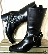 MIU MIU Boots Black leather pull on Moto Riding boots harness pewter EUC 38.5