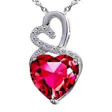 4.00 Cttw Created Ruby Heart Cut Pendant Necklace Sterling Silver w/ Chain