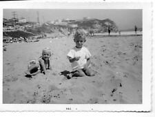 2 Little Boys-Southern California Beach-Petroleum Tanks in Background Photo 40s