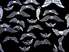 40g x Mini Tibetan Silver Random Mixed Angel Wing Charms Pendants Jewellery O12