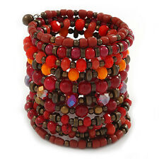 Wide Coiled Ceramic, Acrylic, Glass Bead Bracelet (Red, Coral, Orange, Brown) -