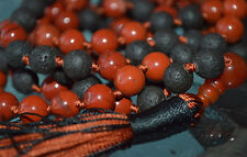 Power stone Red Jasper & Basalt Lava Hand knotted Mala Beads Necklace for Sacral