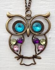 Jewellery Gift Vintage Bronze Style Owl Jewel Pendent 31cm Necklace UK seller