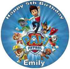 "Paw Patrol Personalised 7.5"" Cake Topper Birthday Edible Wafer Paper Birthdays"