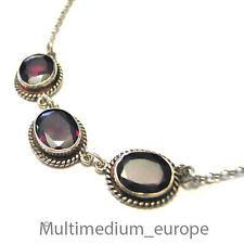 880er Silber Granat Halskette Collier garnet silver necklace 925 Sterling chain