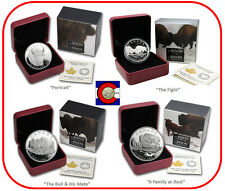 2014 Canada $20 1oz Silver - The Bison - 4 coin PROOF buffalo set w OGP & COAs