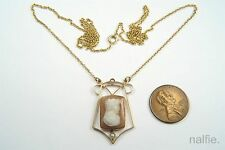ANTIQUE EDWARDIAN / ART NOUVEAU 14K GOLD HARDSTONE CAMEO PENDANT & NECKLACE