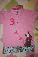 NEW LITTLE JOULES pink DOG  floral MOXIE APPLIQUE polo top SHIRT SIZE 8