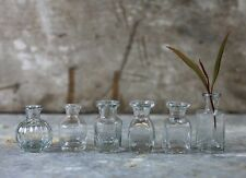 6 Clear Glass Bud Vases Vintage Wedding Mini Antique Flower Bottles Neeki Nkuku