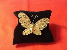 FASHION GOLD TONE FILIGREE BUTTERFLY PIN