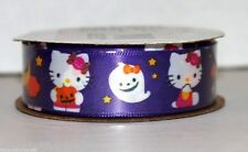 "Hello Kitty Print Halloween Purple Ghost Ribbon 7/8""x9' 100% Polyester Party New"
