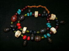 Old Nepal Tribal Bronze Conch & Glass Bead Necklace I