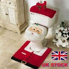 3 Pieces Christmas Decorations Happy Santa Toilet Seat Cover Rug Bathroom Set XZ