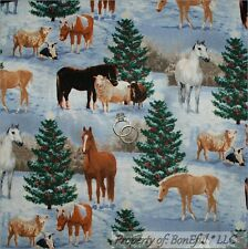 BonEful Fabric FQ Cotton Quilt Xmas L Animal Tree Sheep Horse Cow Blue Green Red