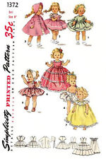 """Vintage Simplicity 1372 - 8"""" inch doll, chest 4 1/2"""" - doll clothes sewing patt"""