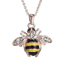 Women  Ladies Honey Bumblebee Bee Crystal Pendant Chain Necklace