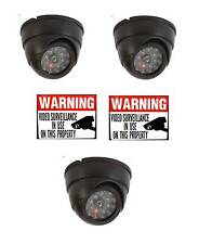 24/7 LED FAKE VIDEO HOME SECURITY DOME CAMERAS+ AND WARNING STICKERS LOT