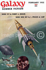 Galaxy Science Fiction Fantasy Cover Art Vintage Poster 18x24 Feb 1952