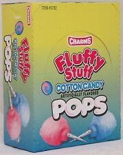 Charms Fluffy Stuff Cotton Candy Pop Candy 48 Box Flat Pops Bulk Candies Suckers