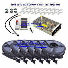 30M 5050 RGB Dream Color 6803 LED Strip Black PCB + 6803 controller +25A Power