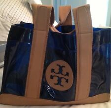 "Tory Burch clear large blue shopper tote bag with leather handles ""Jesse"""
