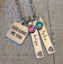 Couple's Name Birthstone 2 bar pendant charms Custom Personalized Necklace