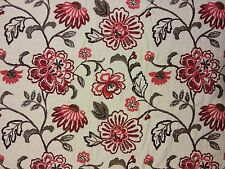 TEX EX 903 EMBROIDERED FLOWER OF JAPAN LINEN RED NATURAL FLORAL CURTAIN FABRIC