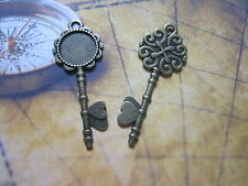 2pcs antique bronze keys cabochon settings wedding vintage round tray pendants