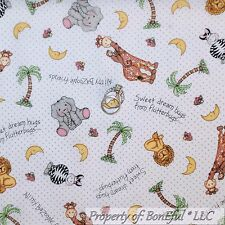 BonEful Fabric FQ Cotton Quilt White B&W Dot Zoo Zebra Giraffe Monkey Moon Baby