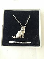 British Short Hair Cat PP-C03 Emblem on Silver Platinum Plated Necklace 18""