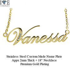 New VANESSA Gold Plated Name Pendant with Premium Gold Plating Necklace