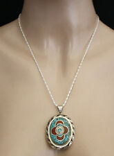 Sterling silver Pendant Chain Necklace Ethnic Turquoise Tibetan Tribal Nepal NOP