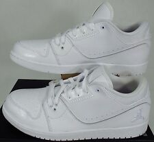 "New Mens 14 NIKE ""Air Jordan 1 Flight 2 Low"" White Leather Shoes $95 654465-120"