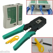 RJ45 RJ11 RJ12 CAT5 LAN Network Cable Tester Crimper Stripper Punch Tool Kit New