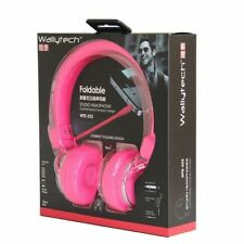 PINK Over head headphones earphones 2m long cable for kids children boys girls