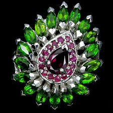 STUPENDO! naturale rosa Rhodolite, VERDE CHROME DIOPSIDE, RUBY 925 SILVER RING Sz 8