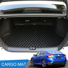 Black leather cargo mat rear trunk tray liner fit for Honda Civic 2017 2016