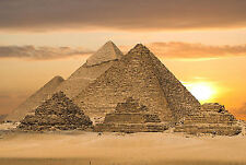 Framed Print - Egyptian Pyramids at Sunset (Archaeology Giza Picture Poster Art)