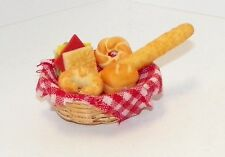 Dollhouse Miniatures Basket of Bread and Sandwiches, food