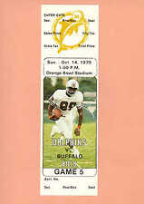 Buffalo Bills at Miami Dolphins 1979 NFL ticket stub Topps Nat Moore photo