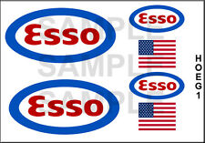 NEW PEEL AND STICK HO SCALE ESSO GASOLINE GAS TANKER TRUCK MODEL DECALS HOEG1