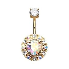 Golden Aurora Sparkle AB Belly Ring Dangle Navel Body Jewelry CZ Clear Sexy