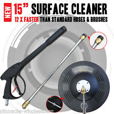 "New Industrial Grade 15"" inch Surface Cleaning Cleaner With Pressure Washer Gun"