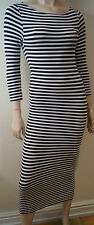 TOPSHOP Black & White Striped Round Neck Jersey Bodycon 3/4 Sleeve Midi Dress 6